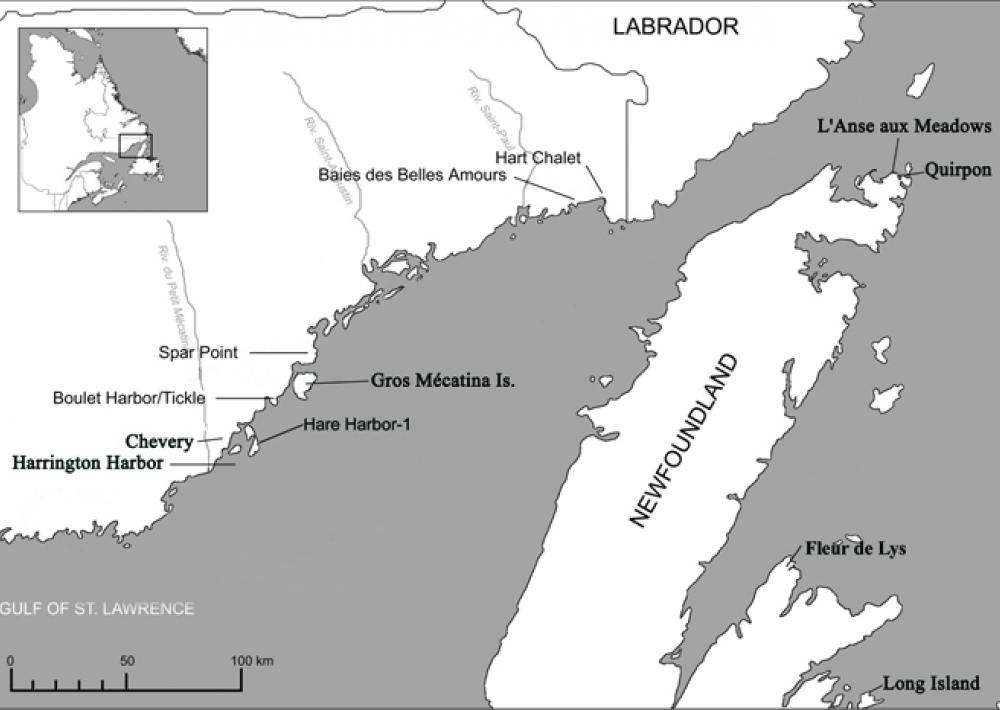 A map of the early European whaling site at Hare Harbor in Quebec, Canada