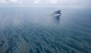 Oil on the water's surface in the Gulf of Mexico during the Deepwater Horizon oil spill.