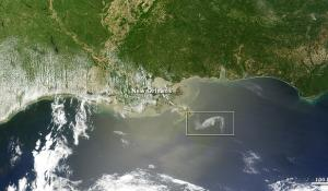 Satellite view of the Gulf Coast oil spill off of Louisiana, April 29, 2010.