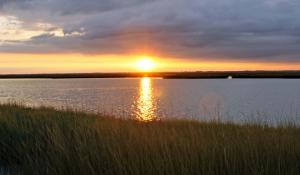 A sunset over marshland near Ocean City, N.J.