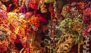 A piece of the Hyperbolic Crochet Coral Reef exhibit.