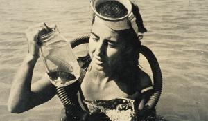 Eugenie Clark collecting specimens on a dive.