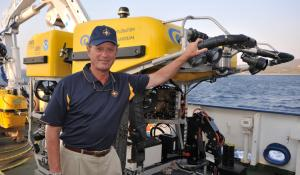 Dr. Robert Ballard with an ROV