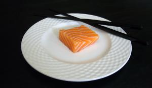 Cut of Atlantic Salmon on a Plate