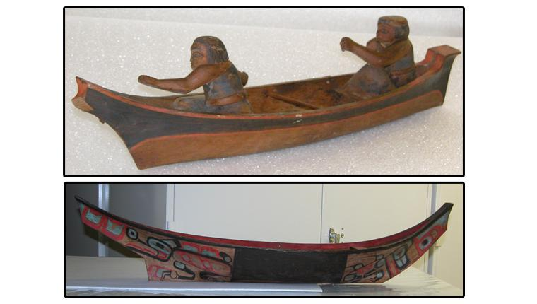 As these models show, traditional canoes came in a variety of shapes and designs.