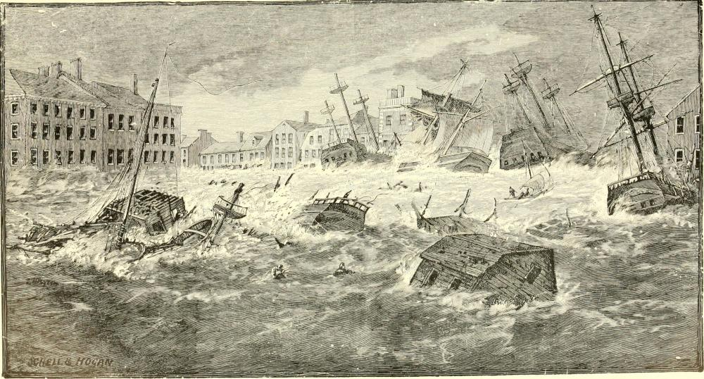wooden ships are swept into Providence, RI during a storm