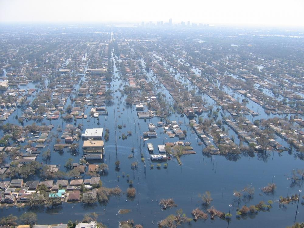 Submerged houses after Katrina