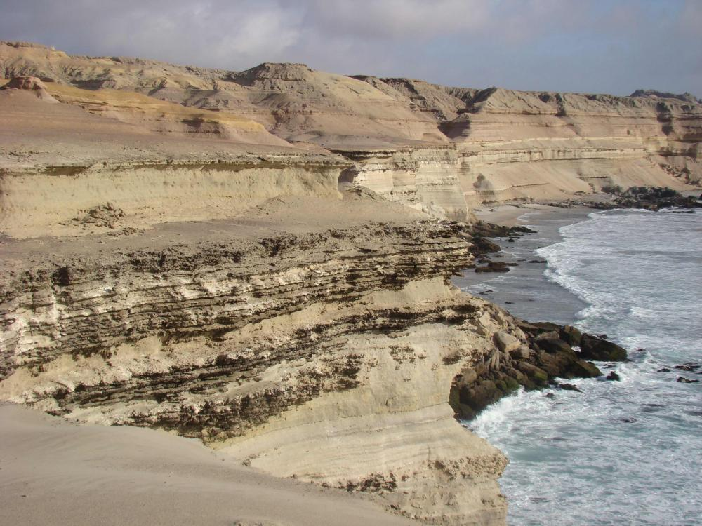 A photo of an arid ocean cliff in Chile's Atacama Desert with the ocean below.