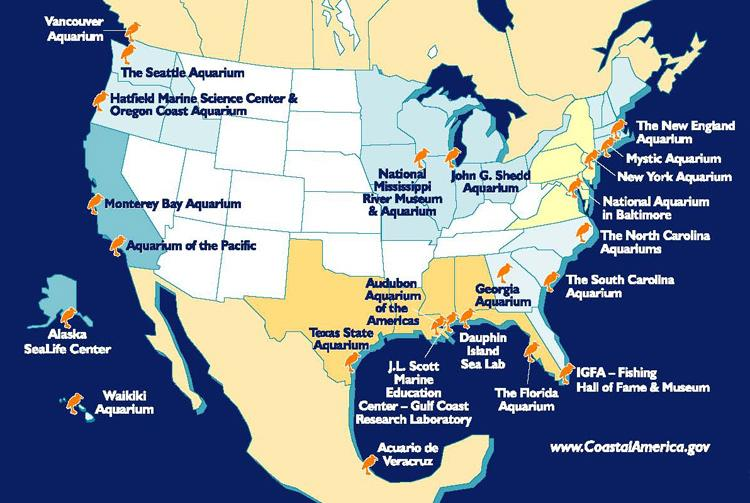 Map of the Coastal Ecosystem Learning Centers throughout North America