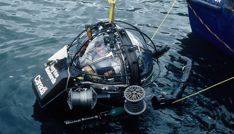 Dr. Clyde Roper in a one-person submersible.