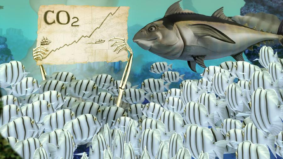 A still from the animated movie showing a skeleton holding a graph that charts rising rising carbon dioxide for a school of fish to see.