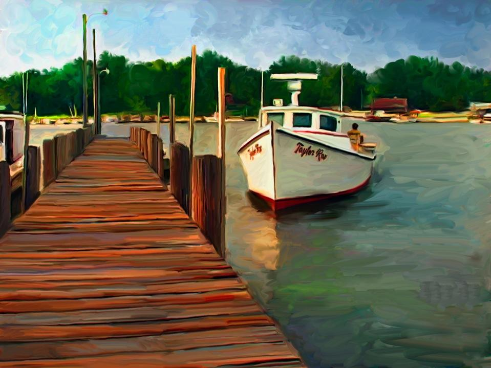 A painting of a working vessel moored at a dock.