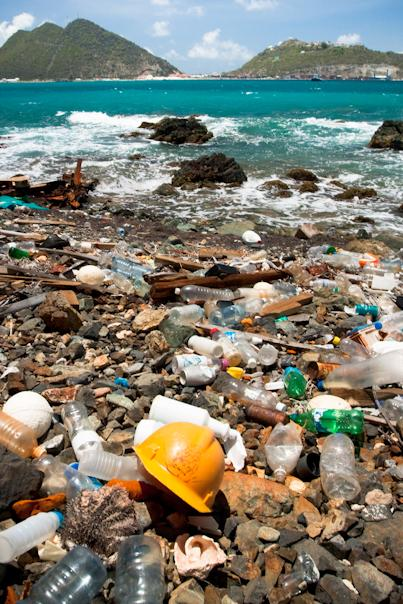 plastic bottles, cans, a yellow hard hat, and other human refuse litters a tropical beach