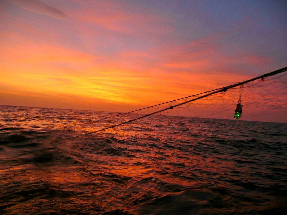 Sunset over a fishing net.