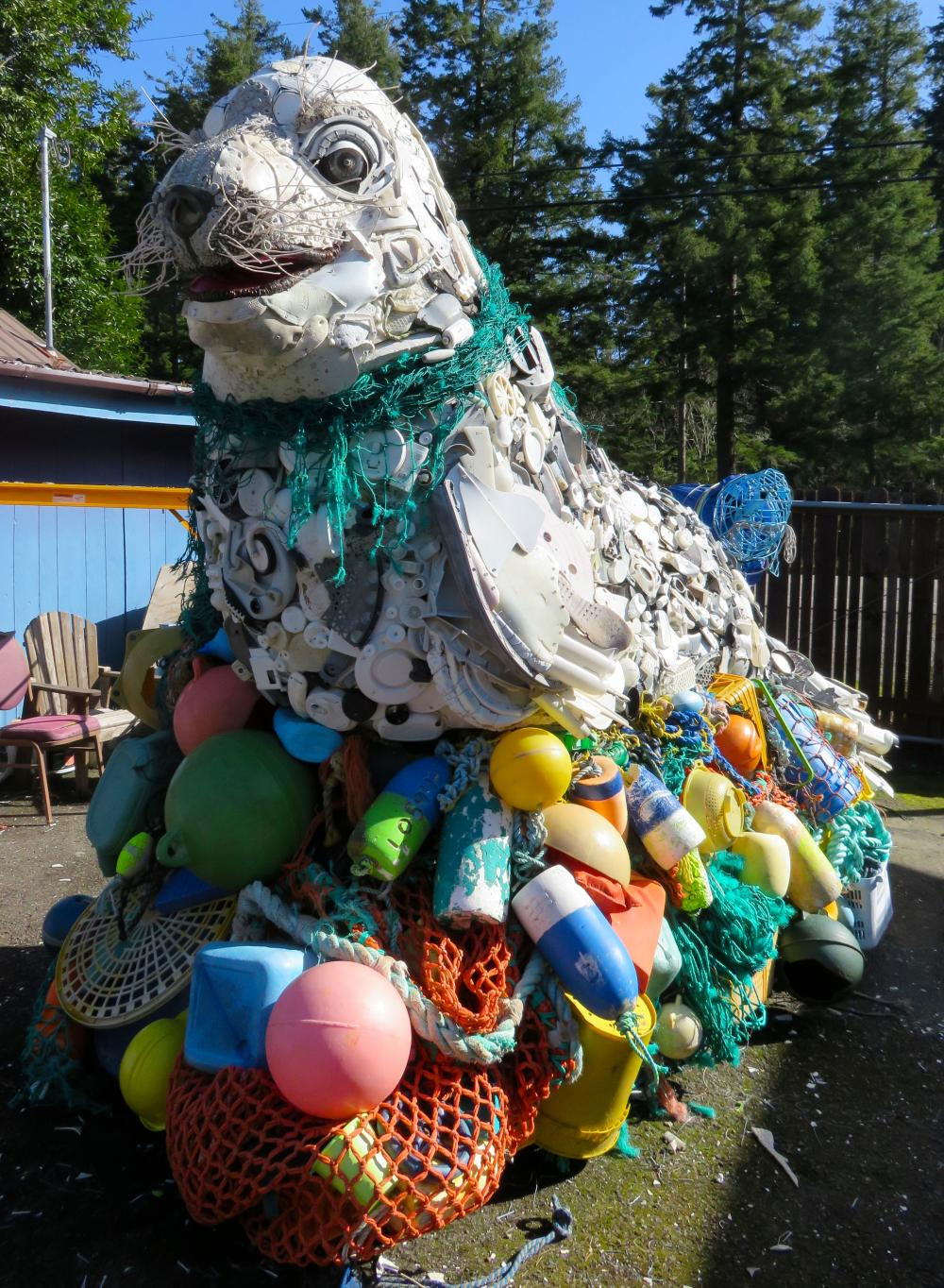 Lidia the Seal is made entirely of plastic trash from the ocean.