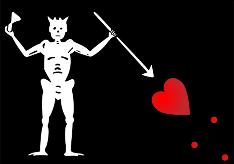 Blackbeard's flag showed a skeleton piercing a heart and toasting the devil.