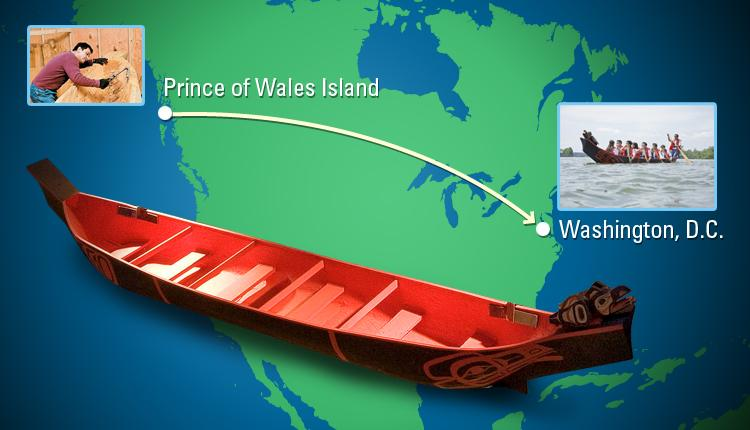 The canoe traveled more than 4,828 kilometers (3,000 miles) to reach Washington, D.C.