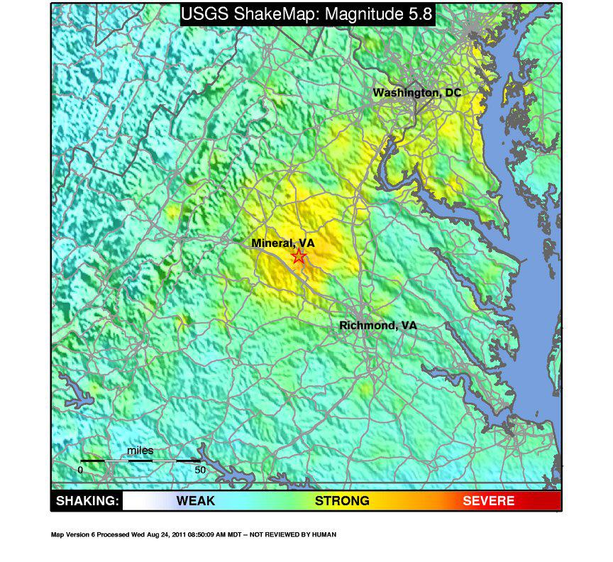 a colored shakemap from the M5.8 Virginia Earthquake depicts the shake range and epicenter of the earthquake