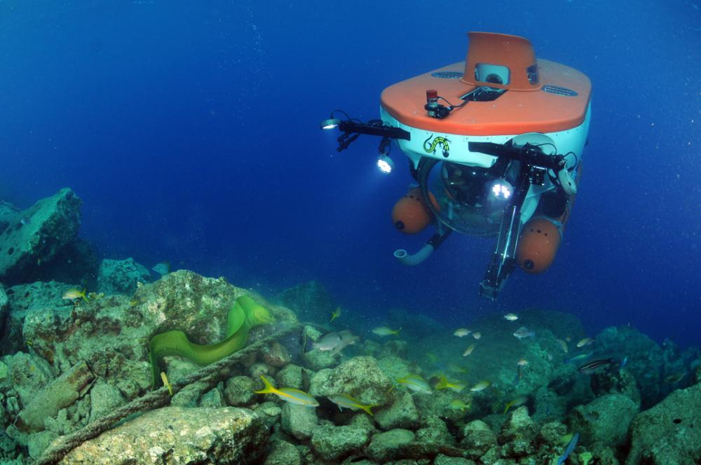 A submersible explores the deep reefs off of Curacao in the Caribbean.