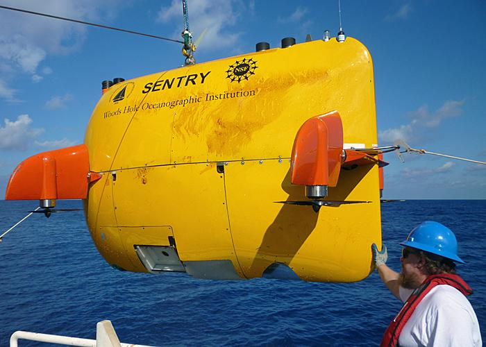 The autonomous underwater vehicle (AUV) Sentry was used in the Gulf of Mexico directly after the Deepwater Horizon oil spill in 2010 to map oil plumes and to search for hard bottom on the sea floor.
