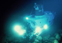 The research submersible Alvin uses bright lights to illuminate the dark seafloor.