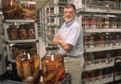 Smithsonian Zoologist Dr. Clyde Roper in front of the museum's stored cephalopod collection.