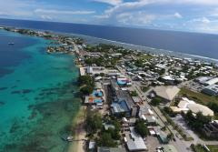 An image from a drone of Majuro island