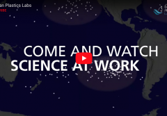 "Screenshot of Ocean Plastics Lab video that says ""Come and watch science at work."""