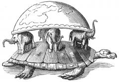 a sea turtle hold four elephants and the world on its back