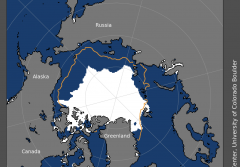 a map of the Arctic sea ice in august