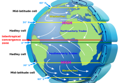 a map of the globe that includes major wind patterns