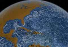 a map of North America with the swirling tides
