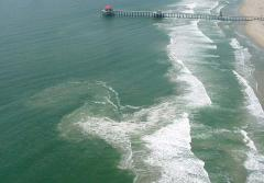 a rip current along a beach with a pier