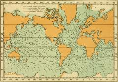 an older map shows ocean surface currents using arrows