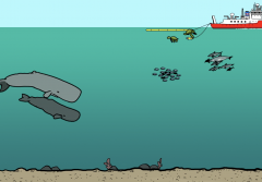 Illustration from video showing whales and fish underwater near an oil rig.