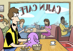 Illustration from video showing Zack and Molly the octopod at a diner.