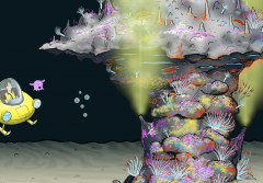 Illustration from video showing a hydrothermal vent.