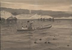 an Inuit hunts in a kayak