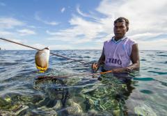 a spear fisher with a speared tropical fish