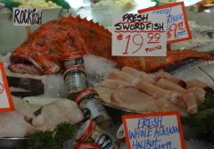 a rockfish and cut up swordfish displayed on ice