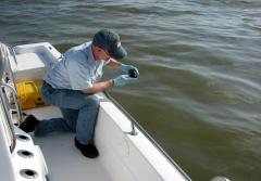 "An environmental chemist collects samples of oil in the Gulf of Mexico from the Deepwater Horizon spill. The resulting chemical ""fingerprint"" of the oil will help determine the origin of other samples."