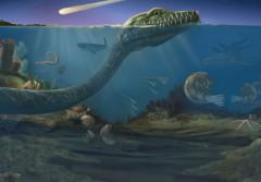 A rendering of an ocean scene as it may have looked 65 million years ago, when an astroid fell to Earth and triggered a mass extinction event.