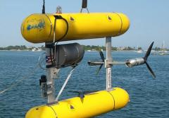 The Autonomous Underwater Vehicle (AUV) SeaBed is about to be deployed.