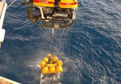 A remotely operated vehicle (ROV) recovers a volcano monitor from an underwater observatory.