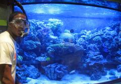 Ocean Portal summer 2011 intern Brandon Adkins poses next to the aquarium in the Smithsonian's Sant Ocean Hall.