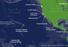 A map of NOAA's 13 marine protected areas