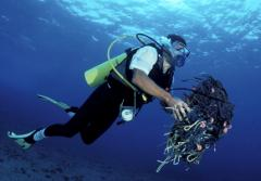 A diver cares for the reef by cleaning up discarded fishing gear and garbage.