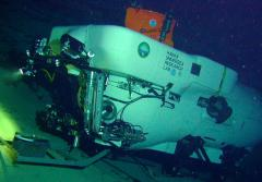 The Pisces IV submersible sits on a saddle near Kingman Reef in Hawaii.