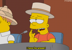 "A screenshot of a GIF showing Bart Simpson exclaiming ""I have the answer!"""