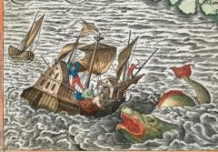 A sea monster attacks a wooden ship